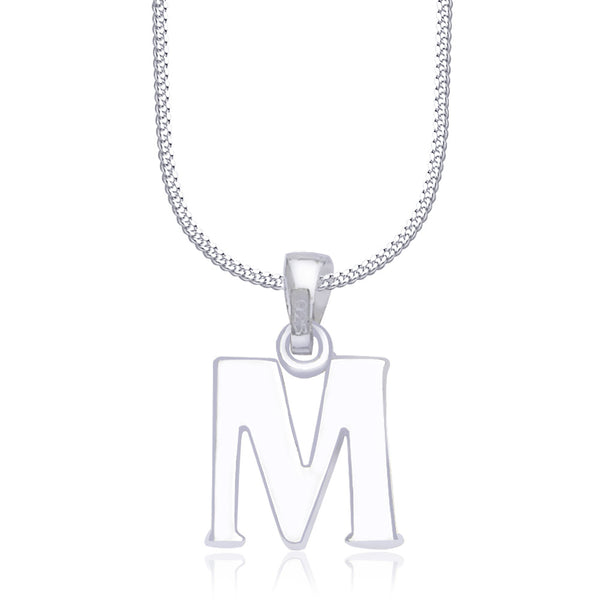 "Taraash Alphabet 'M' with 18"" Chain 925 Sterling Silver Pendant For Unisex COMBO PD 85"