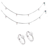 Taraash 925 Sterling Silver Anklet Toe Ring Combo For Women COMBO ANTR 126