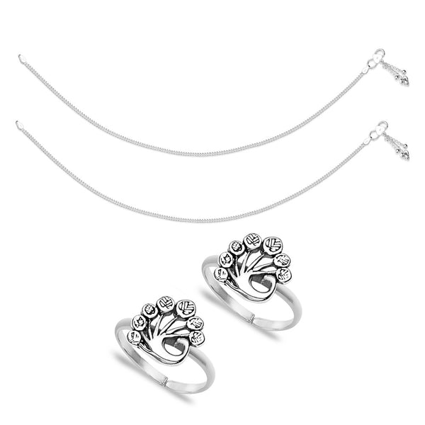 Taraash Sterling Silver Combo of Anklet & Toe Ring For Women COMBO ANTR 80