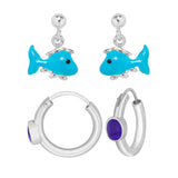 Taraash Sterling Silver Enamel Earrings Combo For Women & Kids COMBO ER 24