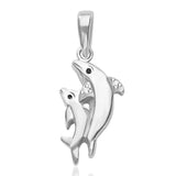 Taraash Sterling Silver Cz Twins Dolphin Pendant With Chain For Women COMBO PDCH 114