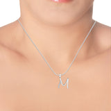 "Taraash Sterling Silver Initial ""M"" Cz Pendant With Chain For Unisex COMBO PDCH 132"
