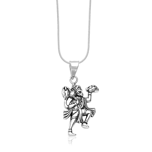 Taraash Sterling Silver Divine Hanuman Pendant With Chain For Men COMBO PDCH 145