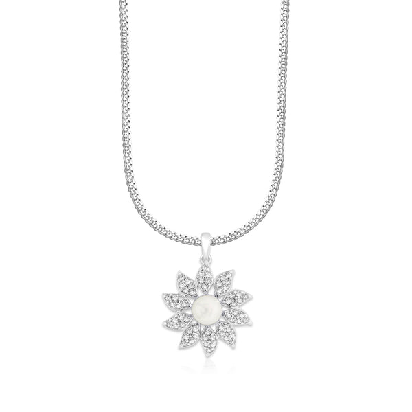 Taraash Sterling Silver Floral Design Pendant With Chain For Women COMBO PDCH 150