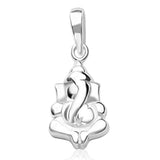 Taraash Sterling Silver Ganeshji Pendant With Chain For Unisex COMBO PDCH 77
