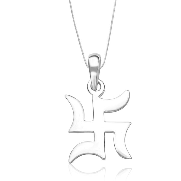 Taraash Sterling Silver Traditional Swastik Pendant With Chain For Unisex COMBO PDCH 79