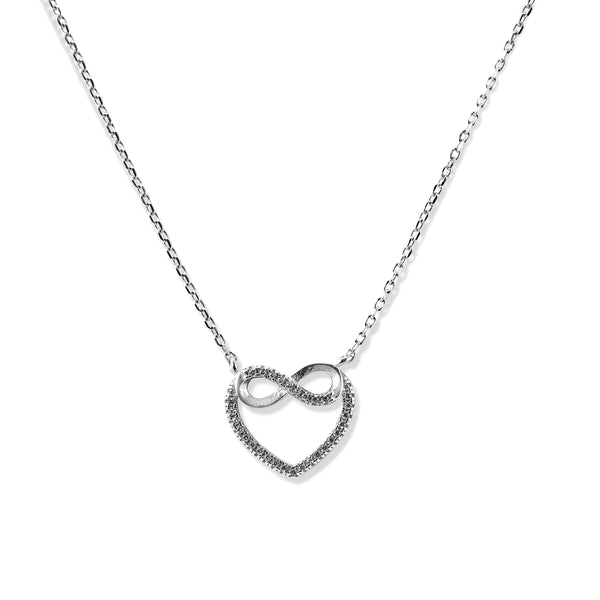 Taraash Silver Heart Shape Pendant With Chain For Women
