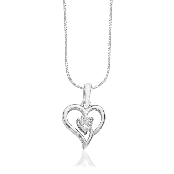 Taraash 925 Sterling Silver Heart Shape Combo Pendant With Chain For Women COMBO PDCH 164