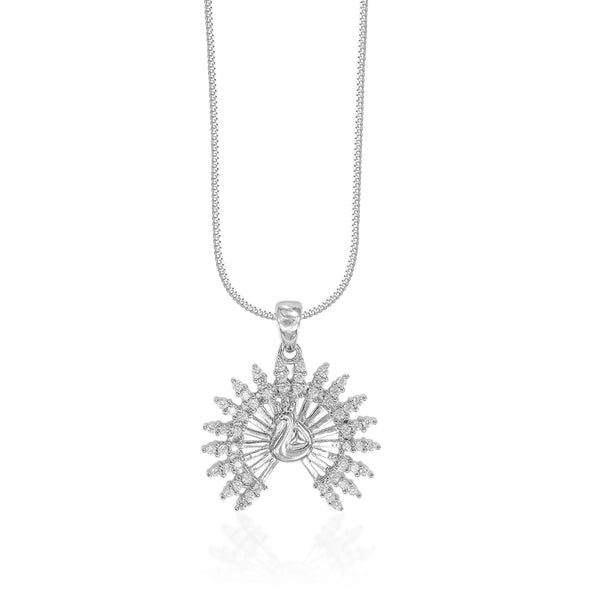 Taraash 925 Sterling Silver Dancing Peacock Combo Pendant With Chain For Women COMBO PDCH 174