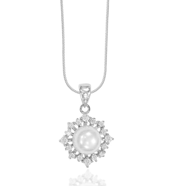Taraash 925 Sterling Silver Classic with Cz With Pearl Combo Pendant With Chain For Women COMBO PDCH 177