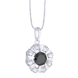 Taraash 925 Sterling Silver Floral Black CZ Pendant Set for women D1X112-02-BK
