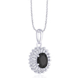 Taraash 925 Sterling Silver Oval Shape Black CZ Pendant set for women D1X112-04-BK