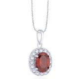 Taraash 925 Sterling Silver Oval Shape Red CZ Pendant set for women D1X112-05-RD