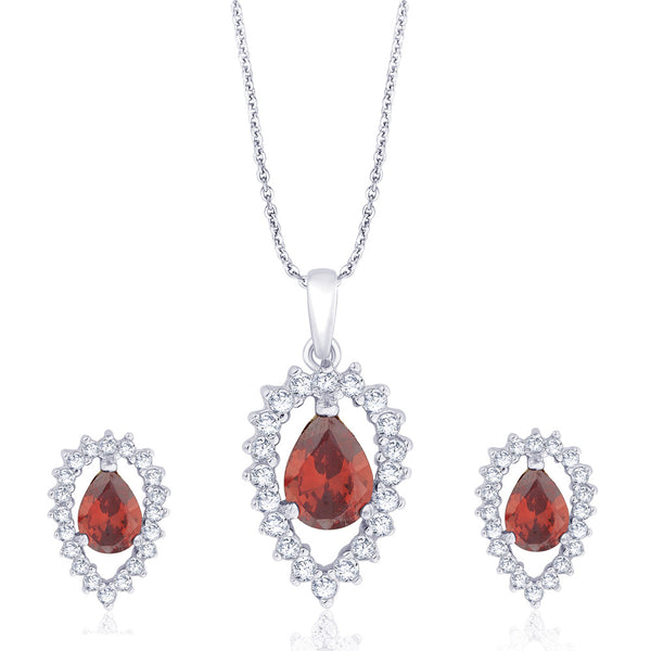 Taraash 925 Sterling Silver Pear Shape Red CZ Pendant set for women D1X112-06-RD