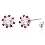 Taraash Sterling Silver CZ Solitaire With Accents Earring For Womens EMR4013V