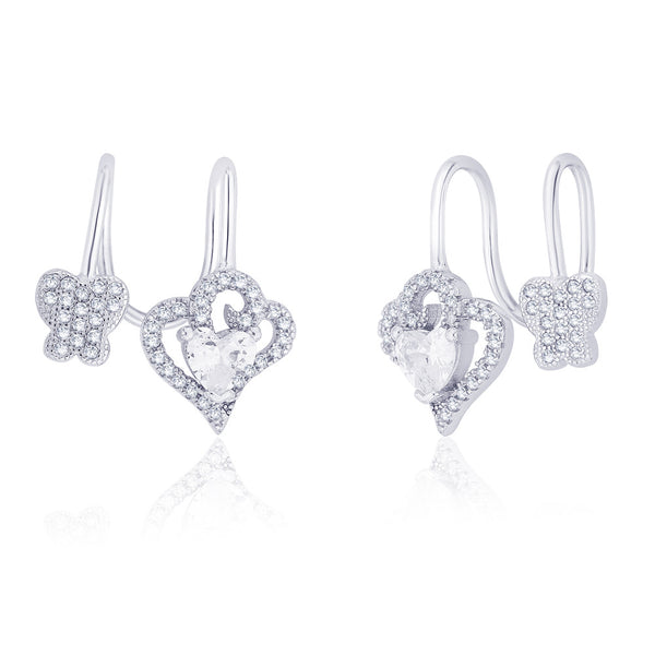 Taraash 925 Sterling Silver Cz Adorn Heart & Butterfly Ear Cuff For WomenER2641R