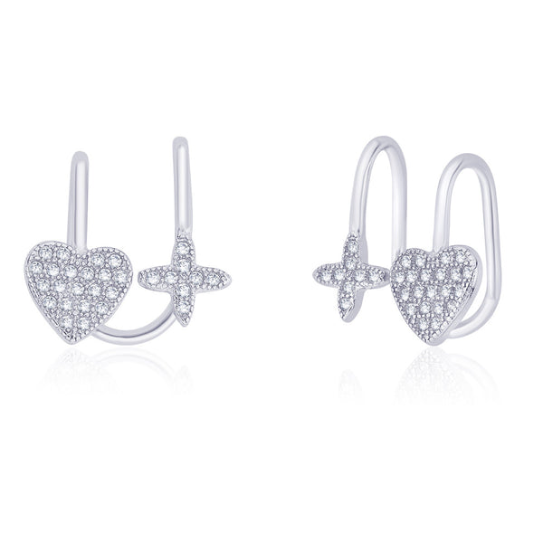 Taraash 925 Sterling Silver Cz Adorn Heart And Floral Ear Cuff For Women ER2645R
