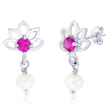 Taraash 925 Sterling Silver Pink CZ Earrings for women ER2675R