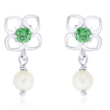 Taraash 925 Sterling Silver CZ & Pearl Earrings for women ER2676R