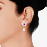 Taraash 925 Sterling Silver Pink CZ Earrings for women ER2681R