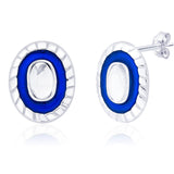 Taraash 925 Sterling Silver Dark Blue Enamel Earrings for women ER2690S