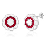 Taraash 925 Sterling Silver Red Enamel Earrings for women ER2695S