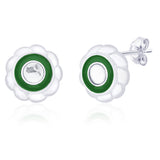 Taraash 925 Sterling Silver Green  Enamel Earrings for women ER2696S