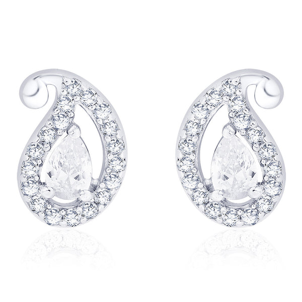 Taraash 925 Sterling Silver CZ Paisley Design Earrings for women ER2710S