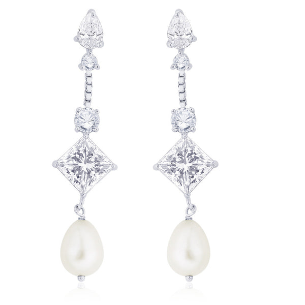 Taraash 925 Sterling silver White CZ and Pearl Earrings for women ER2719R