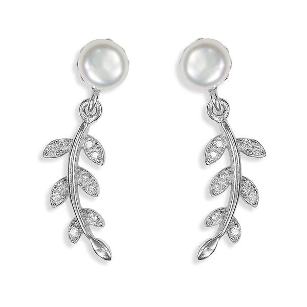 Taraash Sterling Silver CZ Adorn Leaf With Pearl Drop Earrings For Women ER2966R
