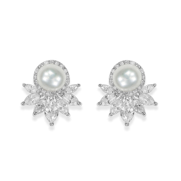 Taraash Sterling Silver CZ Studded Floral Pearl Stud Earrings For Women ER2967R