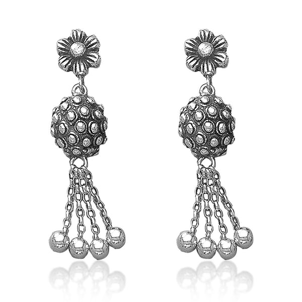 Taraash 925 Sterling Silver Floral Jhumka For Women
