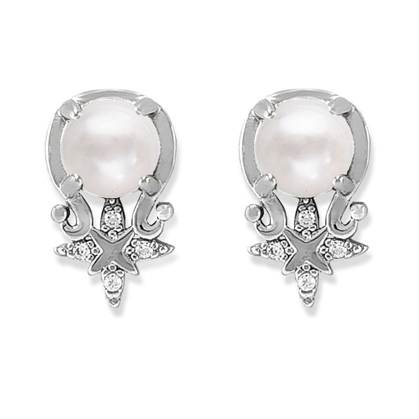 Taraash Sterling Silver Lovely Designer CZ Pearl Earring for Women
