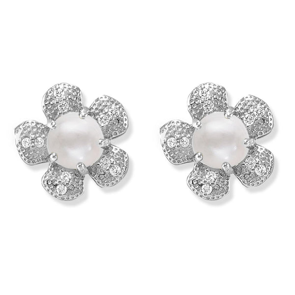 Taraash 925 Silver Pearl Flower Design CZ Earring for Women