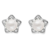 Taraash 925 Silver Star White Pearl CZ Earring Stud for Women