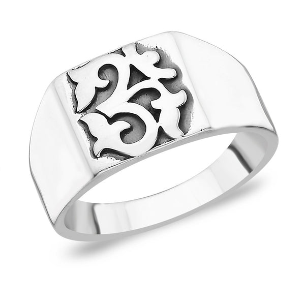 Taraash Om Sterling Silver Ring With Plain Band FR0710A9