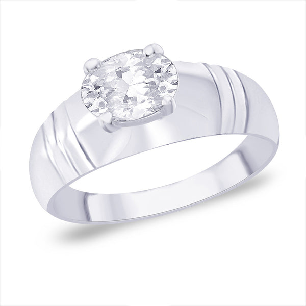 Taraash CZ Sterling Silver Ring with Plain Band FR0720S9
