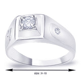 Taraash .925 Silver CZ Solitaire with Accents Men's Finger Ring FR1124R9