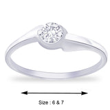 Taraash Classic Sterling Silver CZ Finger Ring For women FR1155R6