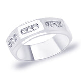 Taraash Band style White CZ 925 Sterling Silver Finger Ring For Men FR1344R9