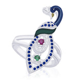 Taraash 925 Sterling Silver Peacock Style Finger Ring For women FR1816R