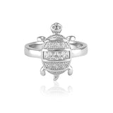 Taraash Sterling Silver Cz Turtle Rings For Men