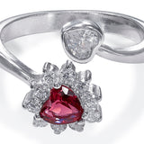 Taraash 925 Sterling Silver Top Openable Heart Finger Ring For Women FRML002R6