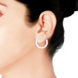 Taraash Sterling-Silver Hoop Earring For Women Silver - H42014M