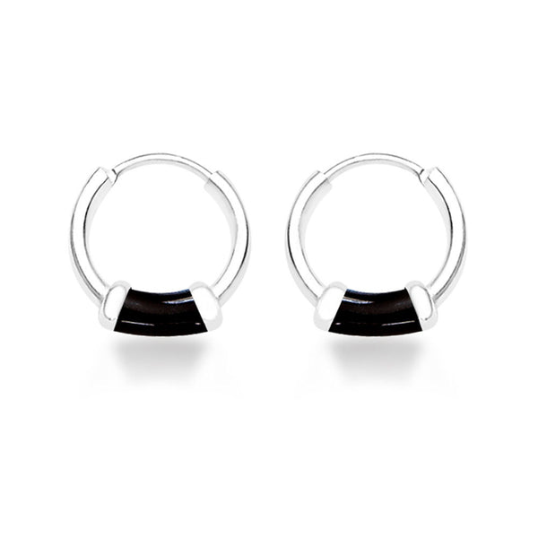 Taraash Black Enamel 925 Sterling Silver Hoop Earring For Women  H42014ZG