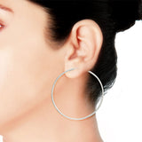 Taraash Sterling-Silver Hoop Earring For Women Silver-H42060M