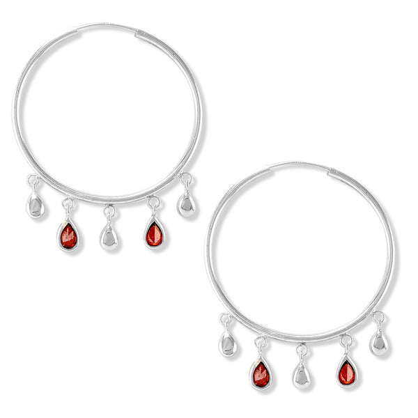 Taraash 925 Silver Pearl Drop Design Red CZ Earring For Women