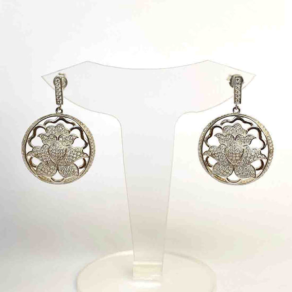 Blisse Sterling Silver Round Floral Design Drop Earring For Women