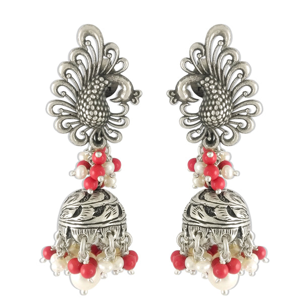 Taraash 925 Sterling Silver Peacock Style Beaded Jhumki Earrings For Women JSJE42