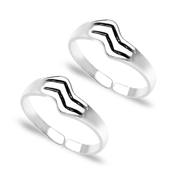 Taraash Engraved Pattern 925 Sterling Silver Toe Ring For Women LR0641A
